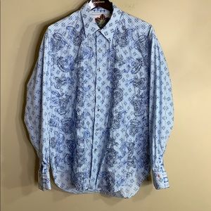Robert Graham blue embroidered paisley button down